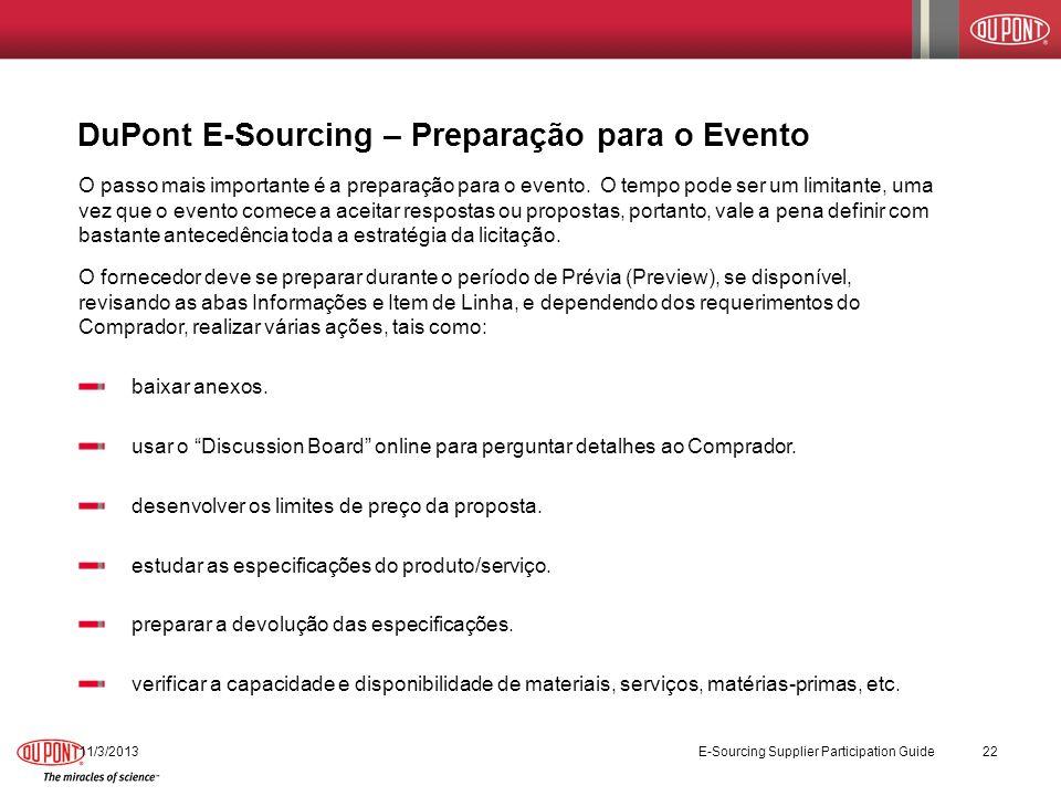 DuPont E-Sourcing – Preparação para o Evento