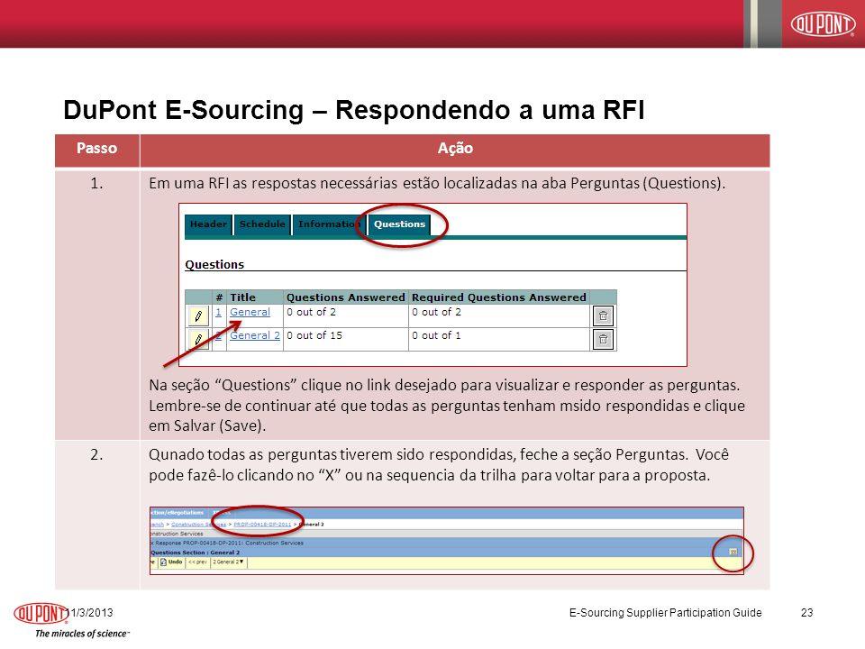 DuPont E-Sourcing – Respondendo a uma RFI