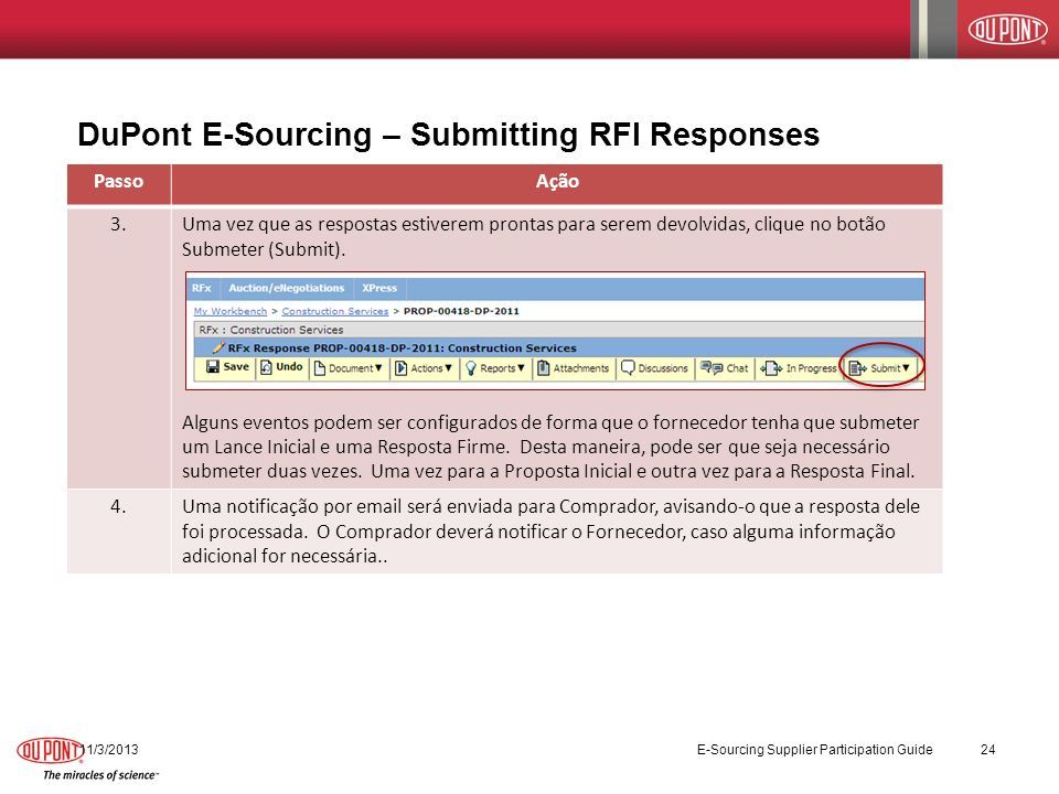 DuPont E-Sourcing – Submitting RFI Responses