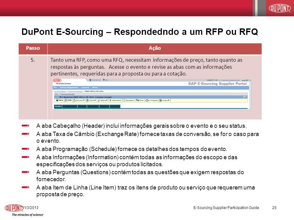 DuPont E-Sourcing – Respondedndo a um RFP ou RFQ