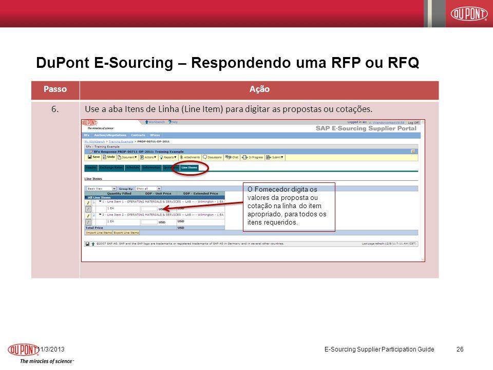 DuPont E-Sourcing – Respondendo uma RFP ou RFQ