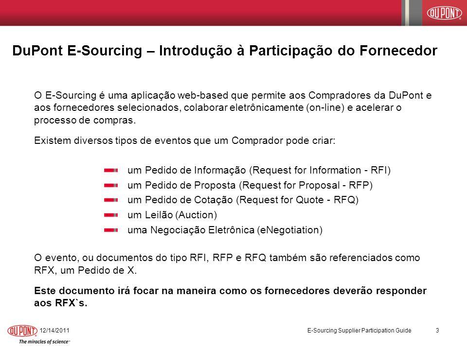 DuPont E-Sourcing – Introdução à Participação do Fornecedor