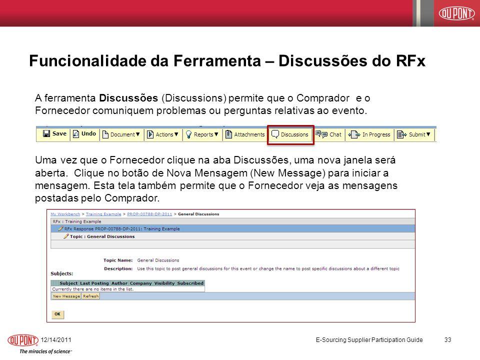 Funcionalidade da Ferramenta – Discussões do RFx