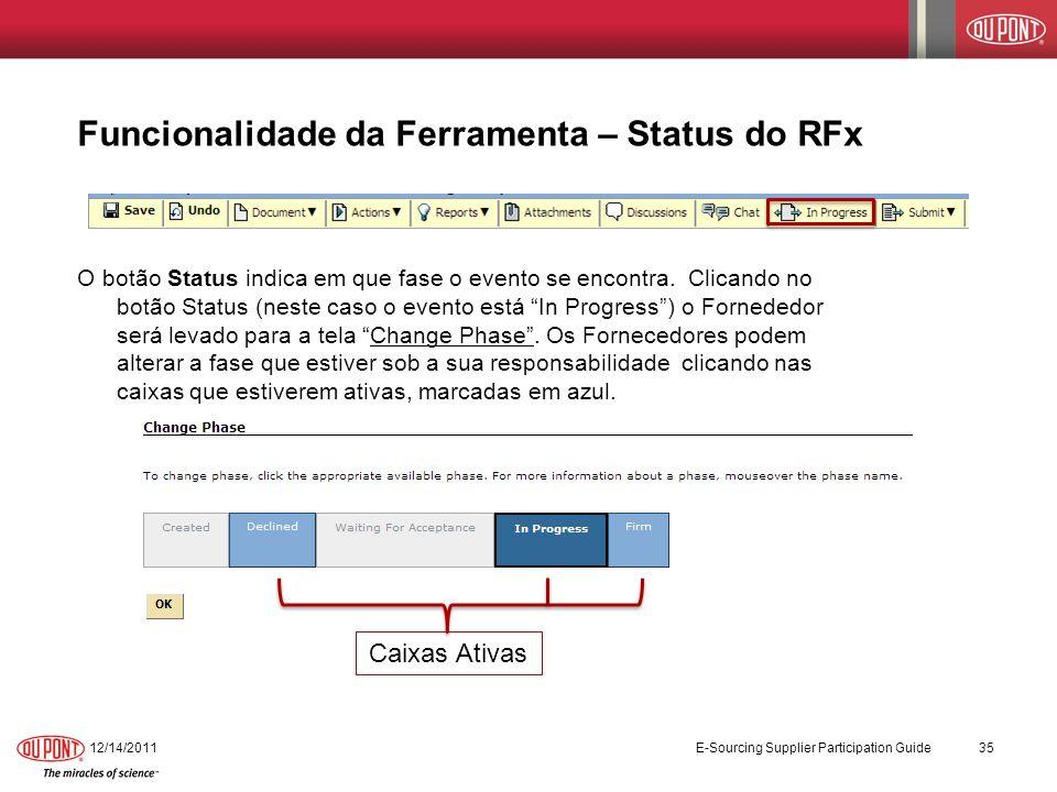 Funcionalidade da Ferramenta – Status do RFx