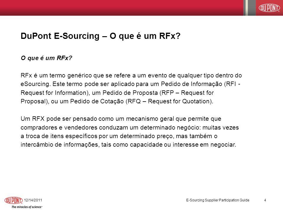 DuPont E-Sourcing – O que é um RFx