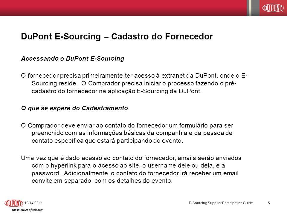 DuPont E-Sourcing – Cadastro do Fornecedor