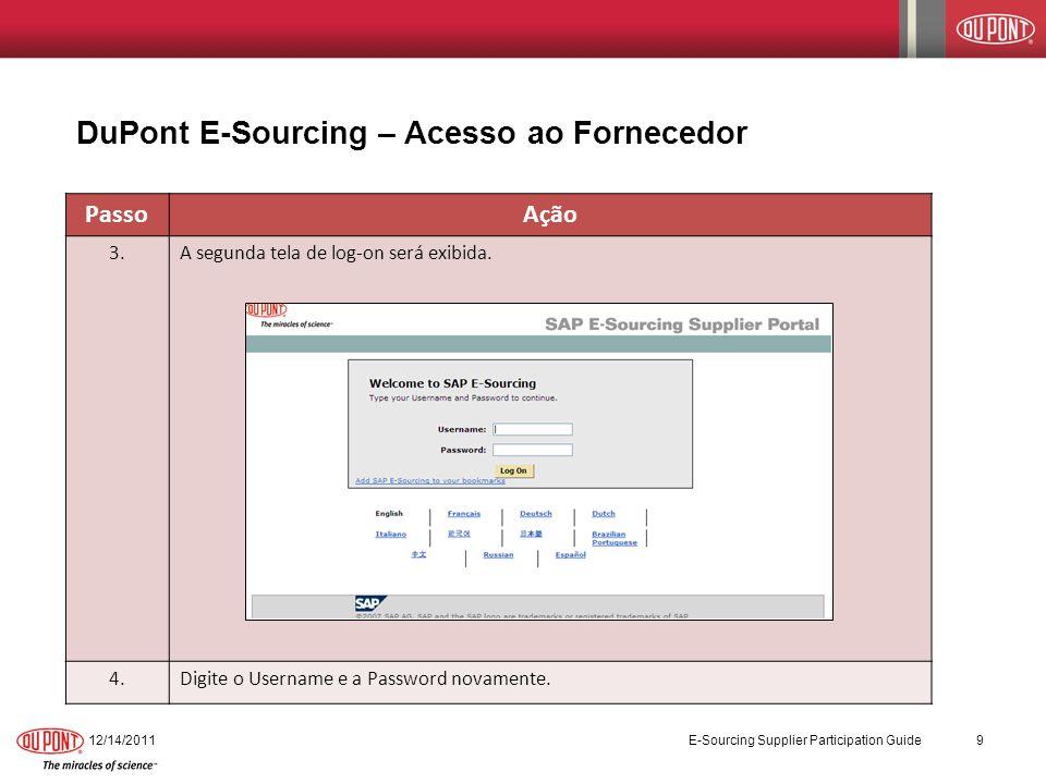 DuPont E-Sourcing – Acesso ao Fornecedor