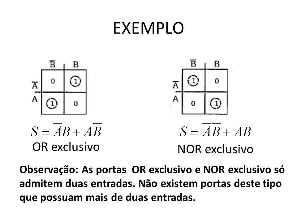 EXEMPLO OR exclusivo NOR exclusivo