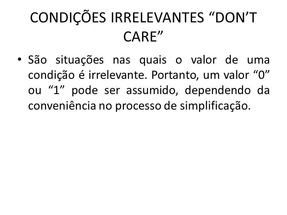 CONDIÇÕES IRRELEVANTES DON'T CARE