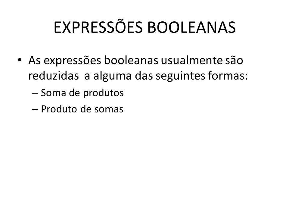 EXPRESSÕES BOOLEANASAs expressões booleanas usualmente são reduzidas a alguma das seguintes formas: