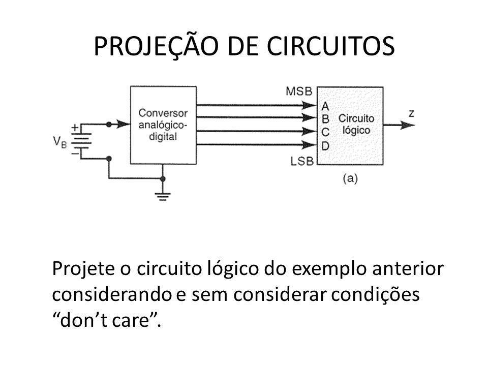 PROJEÇÃO DE CIRCUITOS Projete o circuito lógico do exemplo anterior