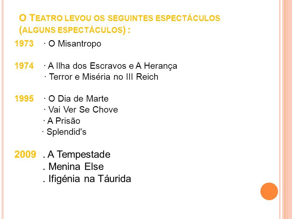 O Teatro levou os seguintes espectáculos (alguns espectáculos) :