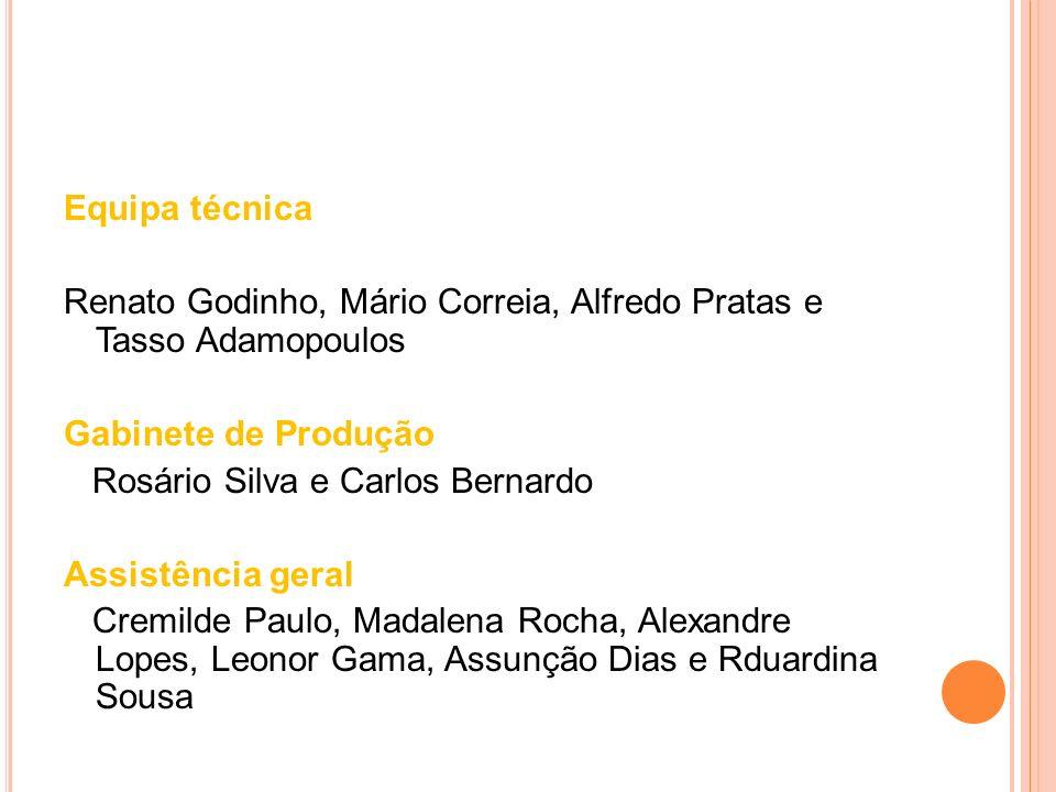 Equipa técnicaRenato Godinho, Mário Correia, Alfredo Pratas e Tasso Adamopoulos. Gabinete de Produção.