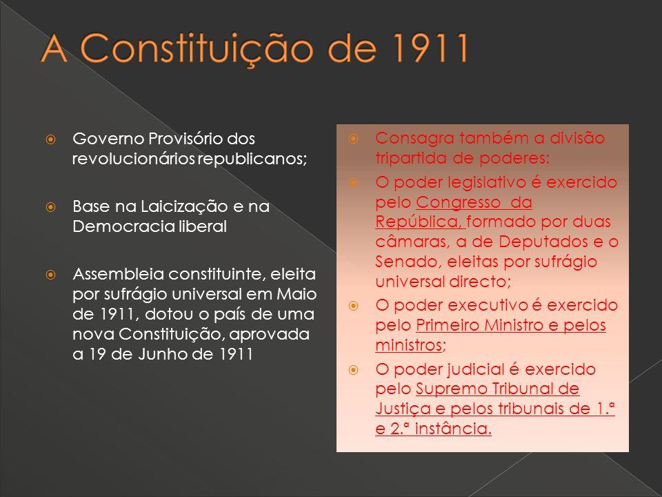 A Constituição de 1911 Governo Provisório dos revolucionários republicanos; Base na Laicização e na Democracia liberal.