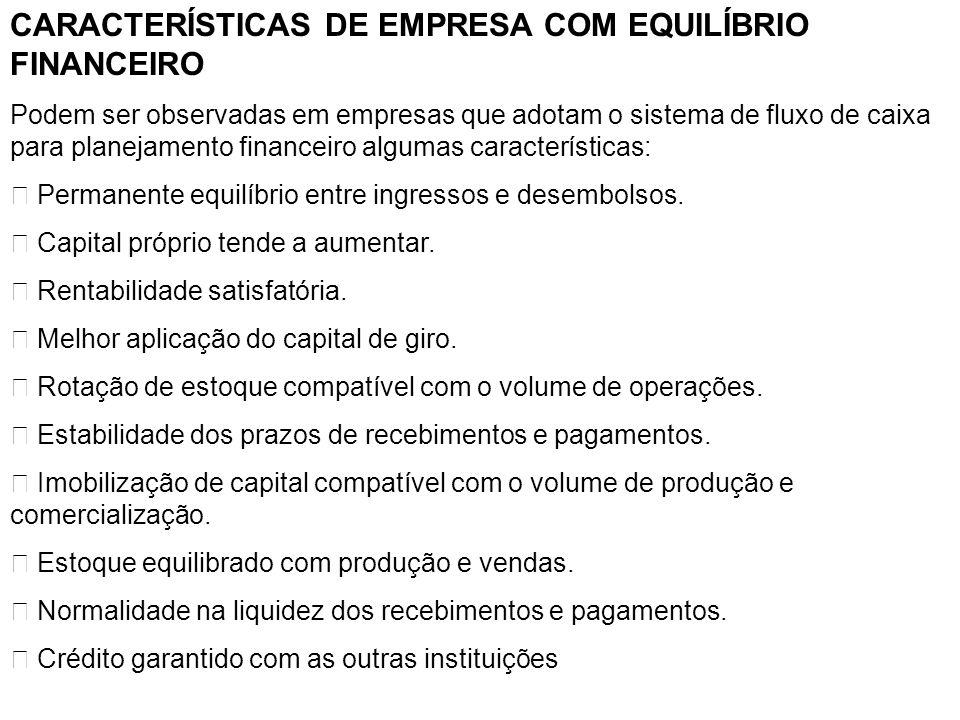 CARACTERÍSTICAS DE EMPRESA COM EQUILÍBRIO FINANCEIRO