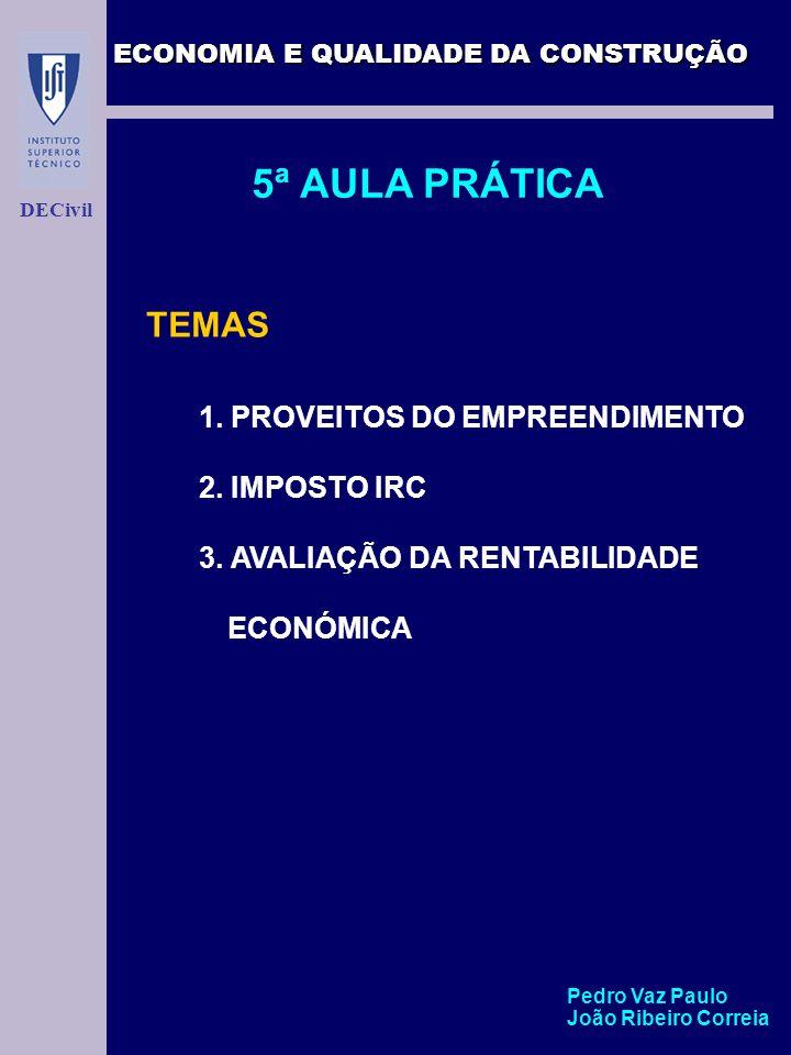 5ª AULA PRÁTICA TEMAS 2. IMPOSTO IRC 3. AVALIAÇÃO DA RENTABILIDADE