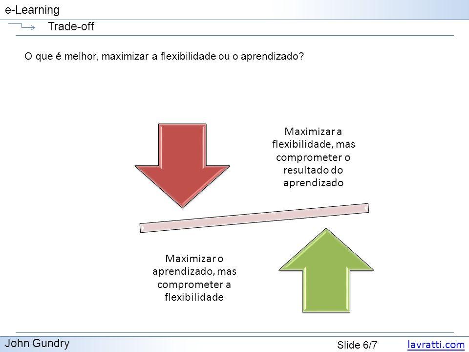 Trade-off O que é melhor, maximizar a flexibilidade ou o aprendizado Maximizar a flexibilidade, mas comprometer o resultado do aprendizado.