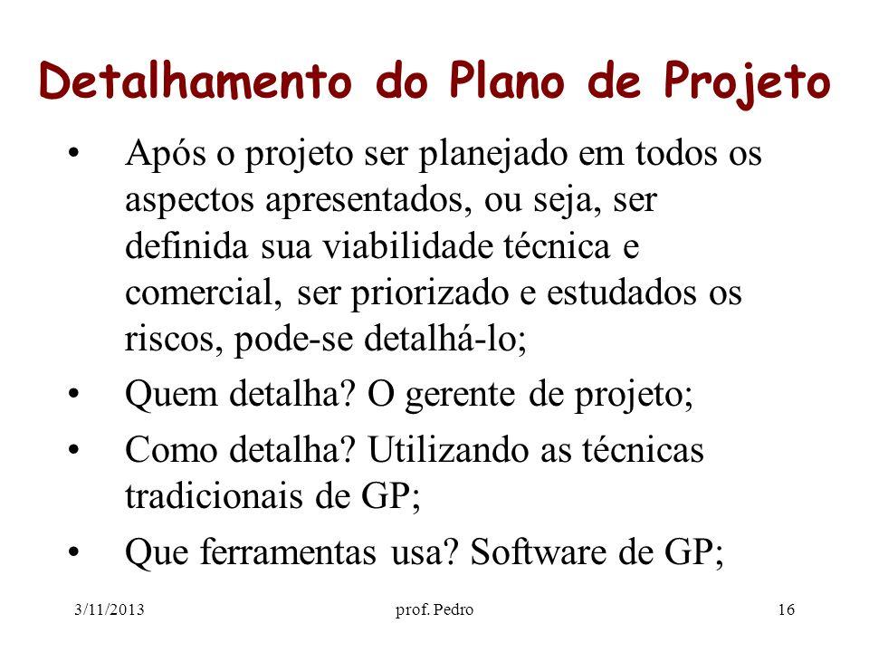 Detalhamento do Plano de Projeto