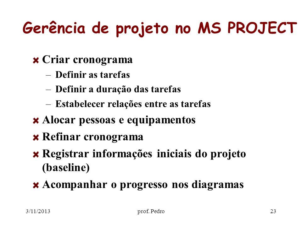 Gerência de projeto no MS PROJECT