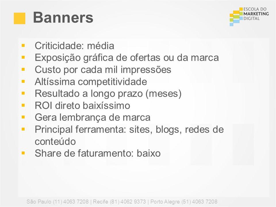 Banners Criticidade: média Exposição gráfica de ofertas ou da marca