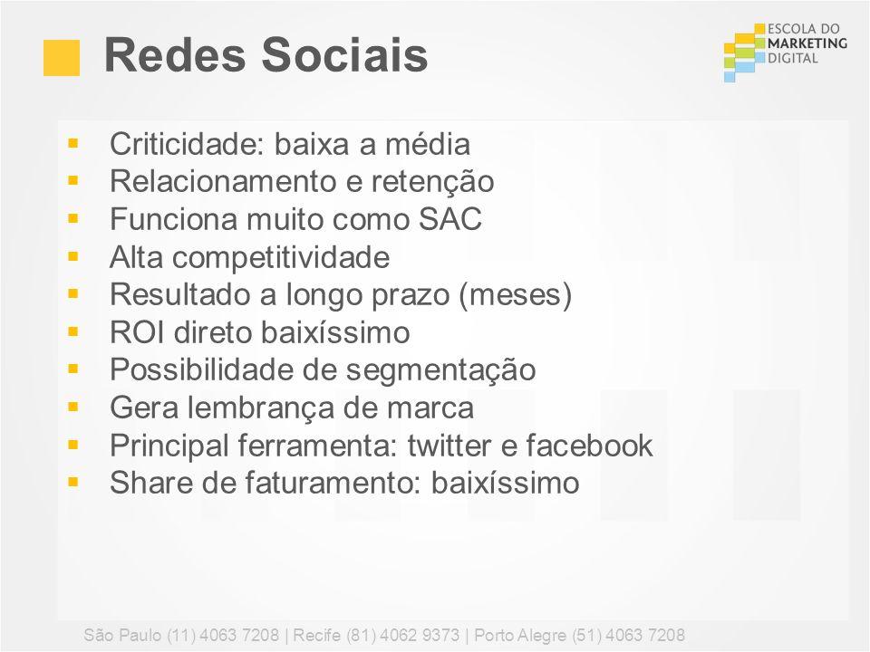 Redes Sociais Criticidade: baixa a média Relacionamento e retenção