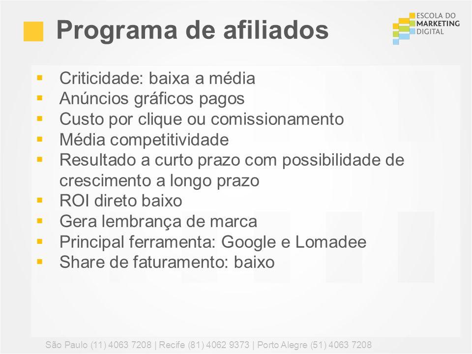 Programa de afiliados Criticidade: baixa a média