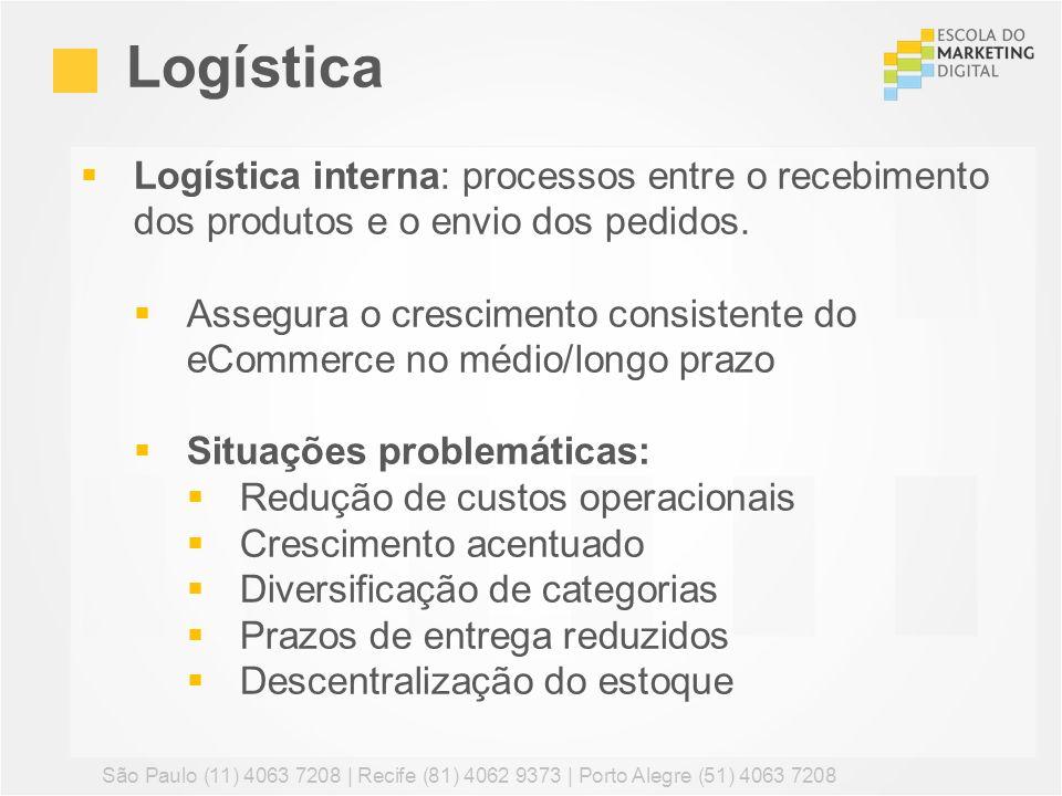 Logística Logística interna: processos entre o recebimento dos produtos e o envio dos pedidos.