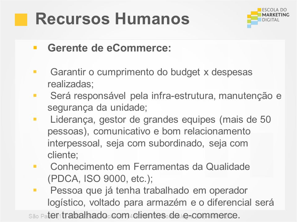 Recursos Humanos Gerente de eCommerce: