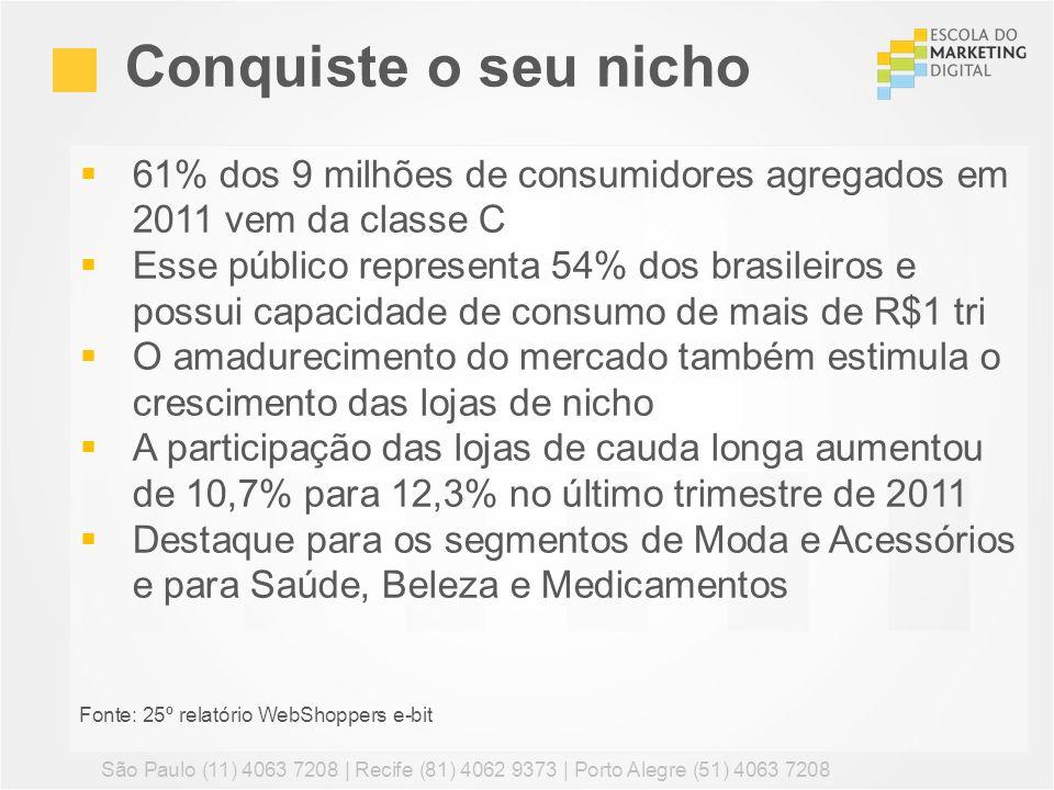 Conquiste o seu nicho 61% dos 9 milhões de consumidores agregados em 2011 vem da classe C.