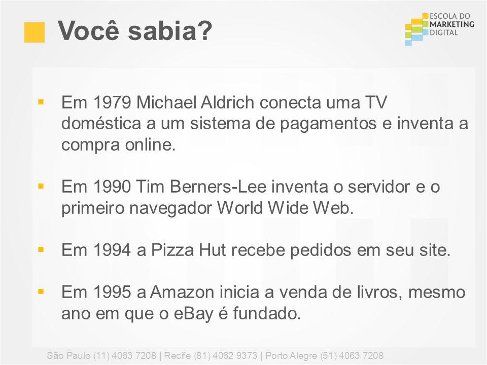 Você sabia Em 1979 Michael Aldrich conecta uma TV doméstica a um sistema de pagamentos e inventa a compra online.