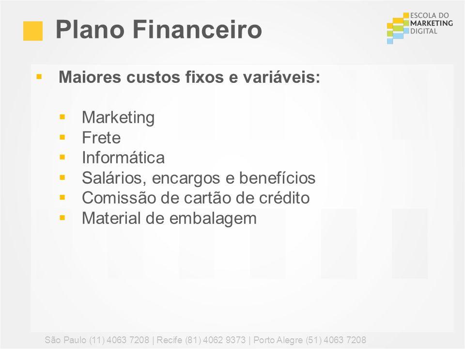 Plano Financeiro Maiores custos fixos e variáveis: Marketing Frete