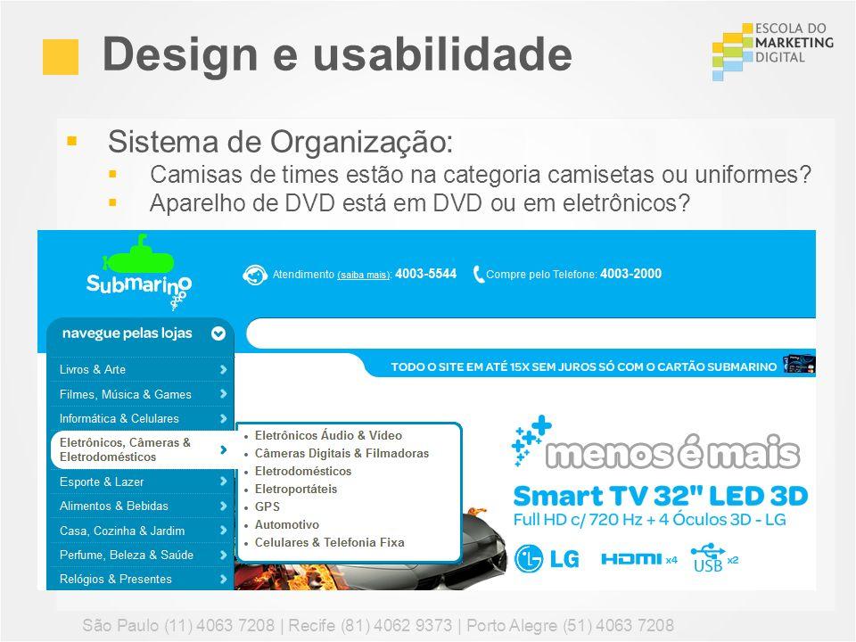 Design e usabilidade Sistema de Organização: