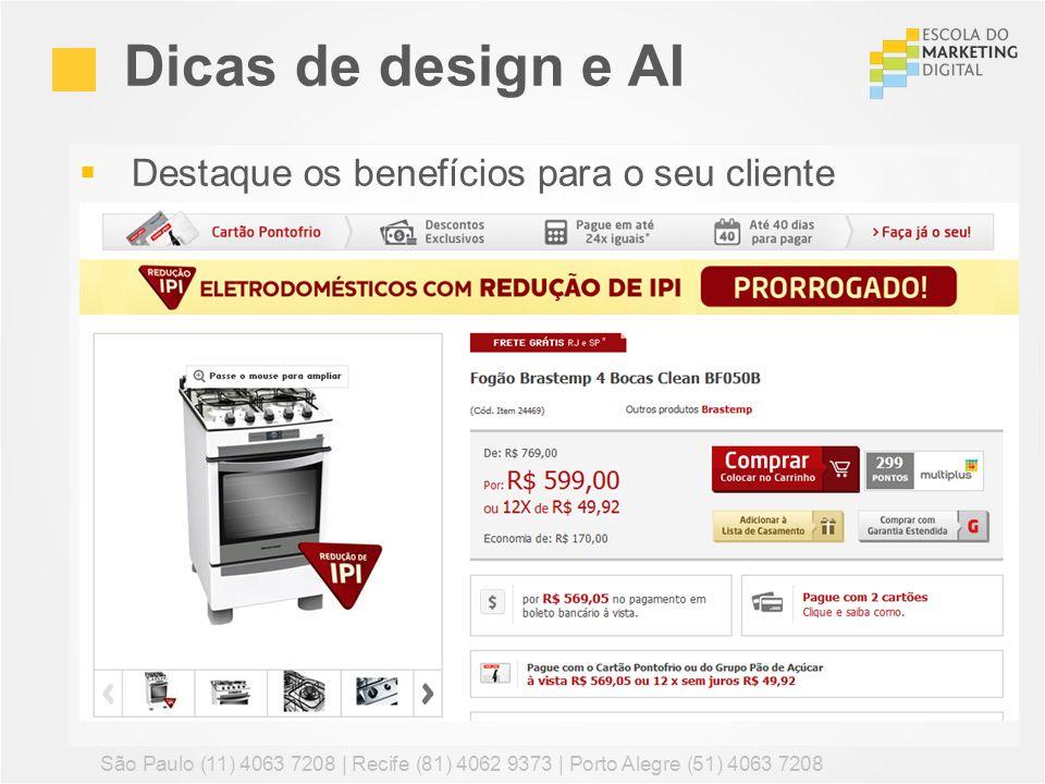 Dicas de design e AI Destaque os benefícios para o seu cliente