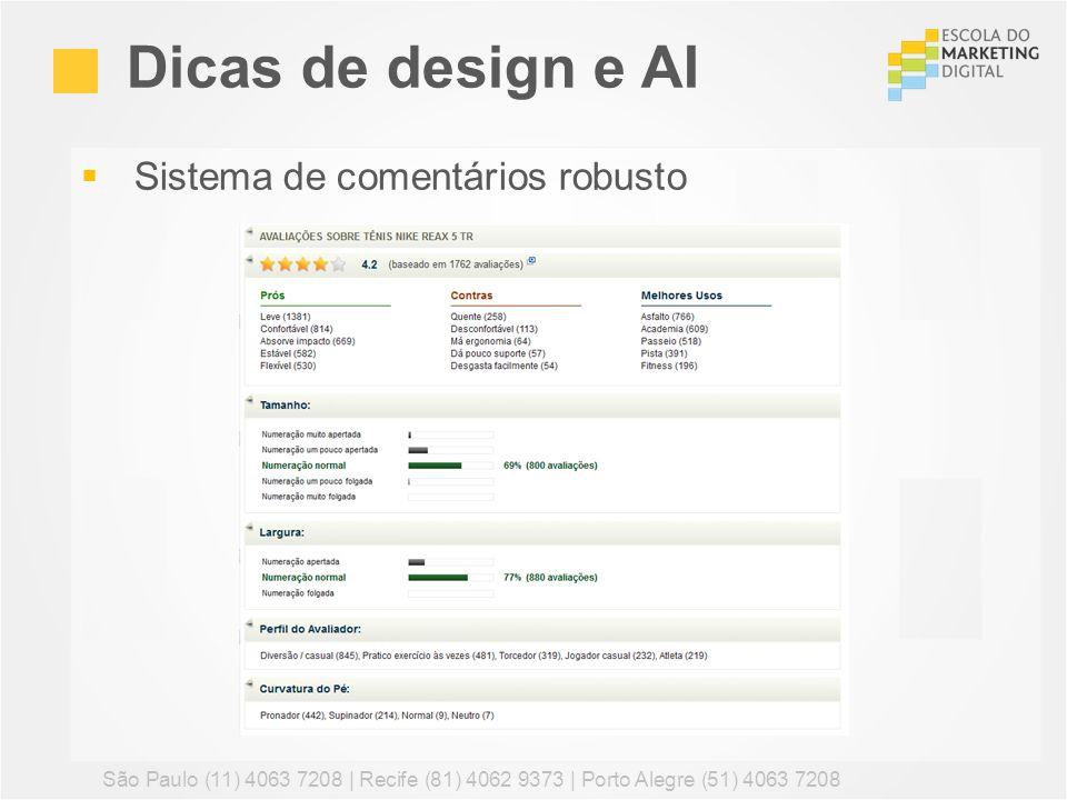 Dicas de design e AI Sistema de comentários robusto