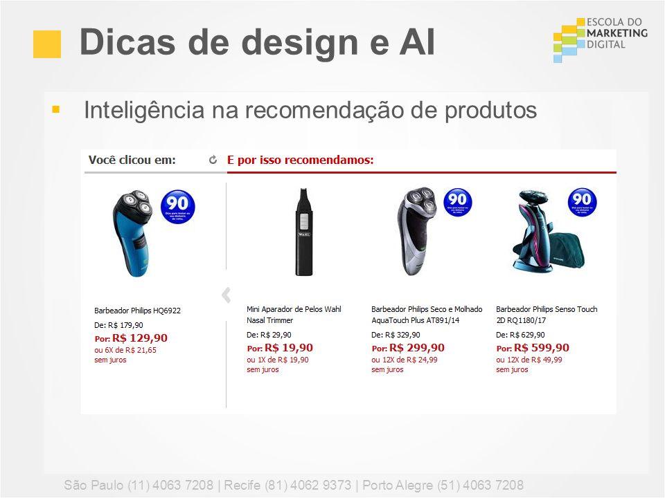 Dicas de design e AI Inteligência na recomendação de produtos