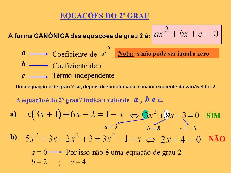 Por isso não é uma equação de grau 2 b = 2 ; c = 4