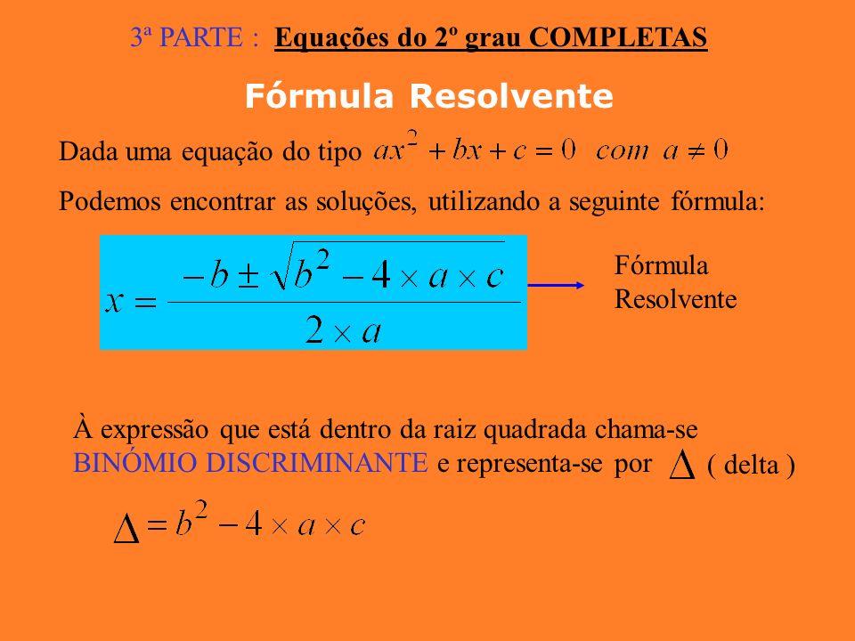 Fórmula Resolvente 3ª PARTE : Equações do 2º grau COMPLETAS
