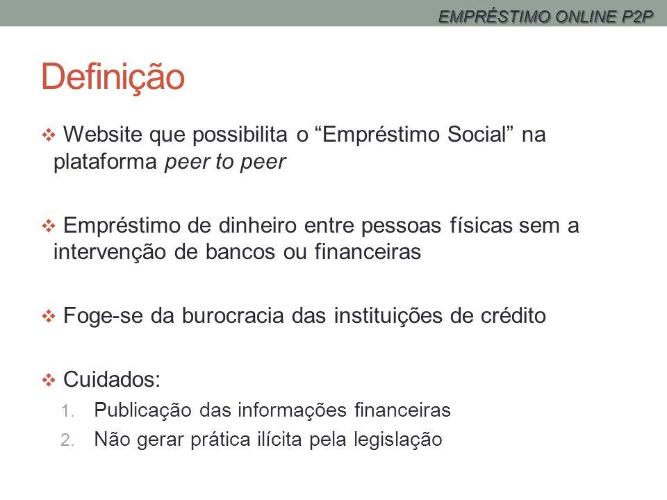 EMPRÉSTIMO ONLINE P2P Definição. Website que possibilita o Empréstimo Social na plataforma peer to peer.