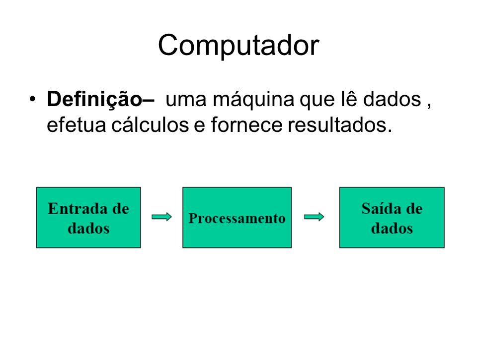 Computador Definição– uma máquina que lê dados , efetua cálculos e fornece resultados.