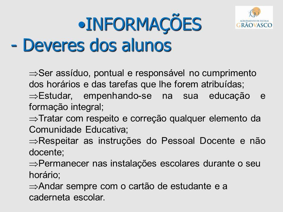 INFORMAÇÕES - Deveres dos alunos