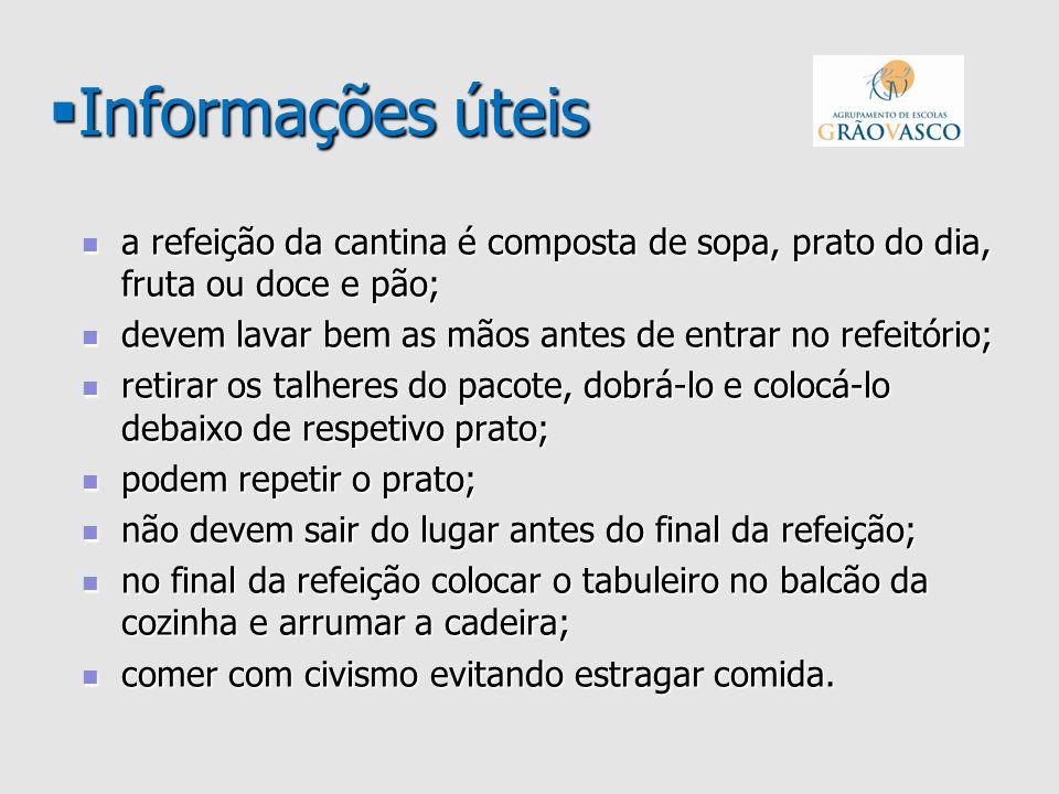 Informações úteis a refeição da cantina é composta de sopa, prato do dia, fruta ou doce e pão;