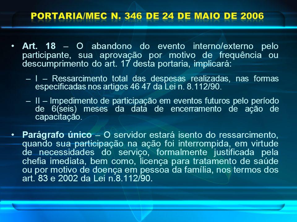 Portaria/MEC n. 346 de 24 de maio de 2006