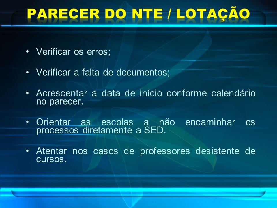 PARECER DO NTE / LOTAÇÃO