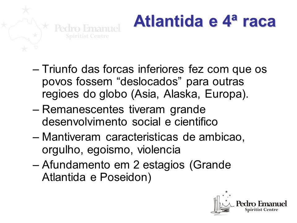 Atlantida e 4ª raca Triunfo das forcas inferiores fez com que os povos fossem deslocados para outras regioes do globo (Asia, Alaska, Europa).