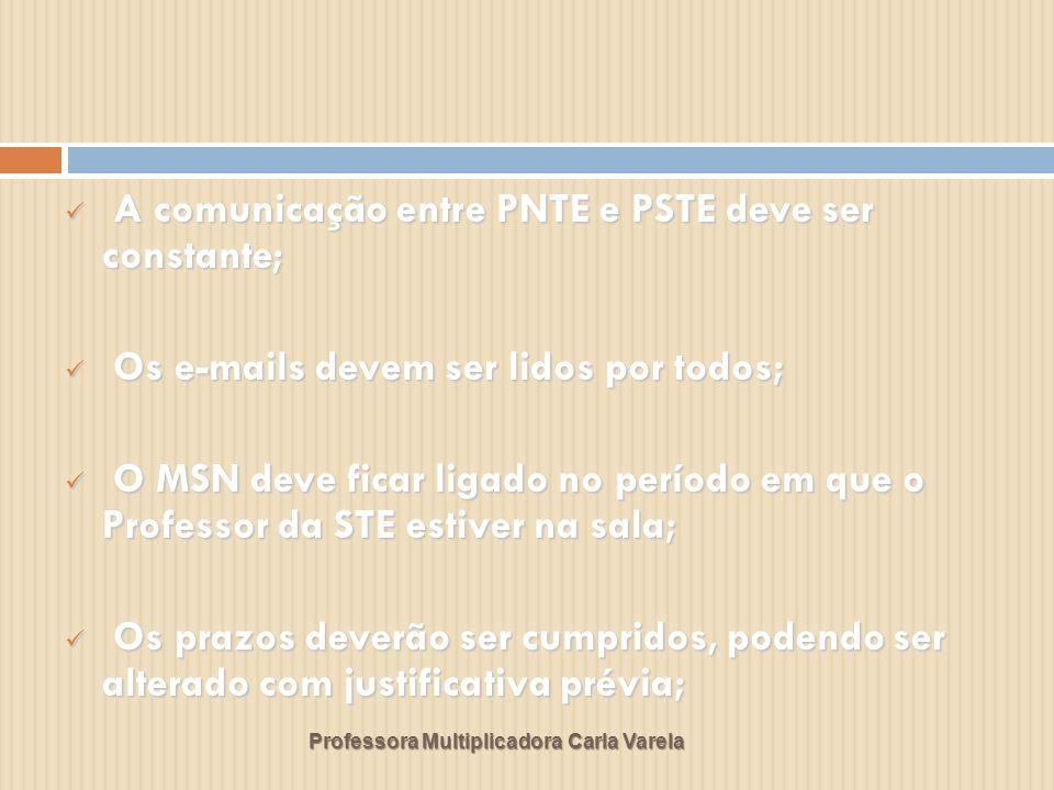 A comunicação entre PNTE e PSTE deve ser constante;