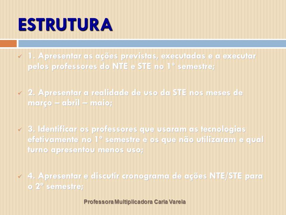 ESTRUTURA 1. Apresentar as ações previstas, executadas e a executar pelos professores do NTE e STE no 1º semestre;