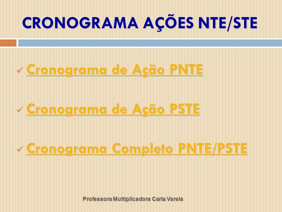 CRONOGRAMA AÇÕES NTE/STE