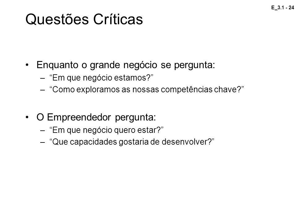 Questões Críticas Enquanto o grande negócio se pergunta: