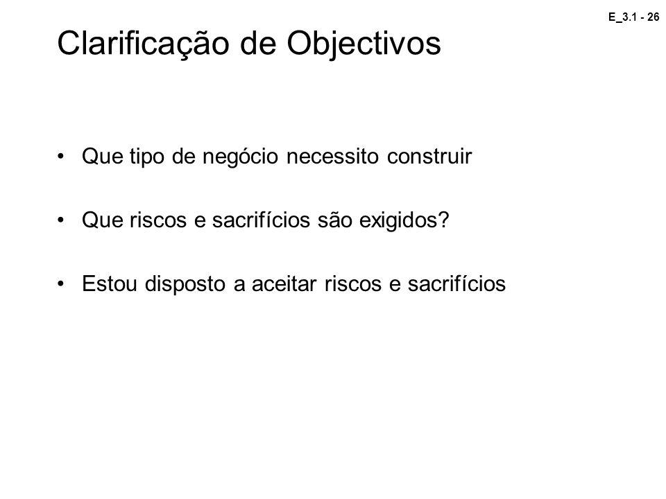 Clarificação de Objectivos