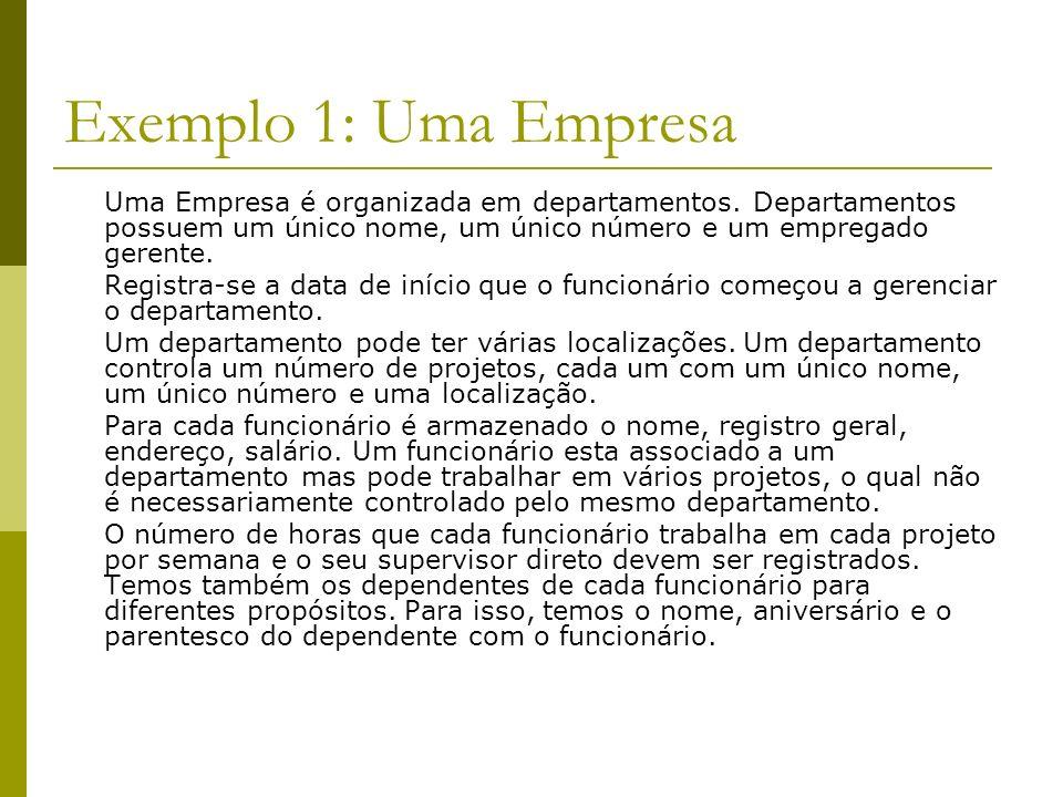 Exemplo 1: Uma EmpresaUma Empresa é organizada em departamentos. Departamentos possuem um único nome, um único número e um empregado gerente.